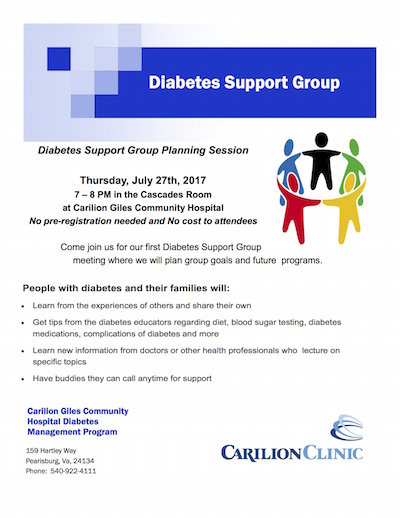 Giles Carilion Diabetes Support Group Flyer
