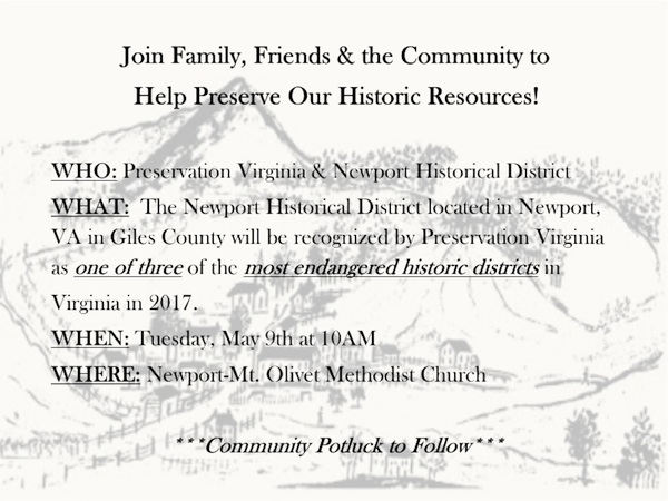 2017 Newport Historical District Recognition flyer