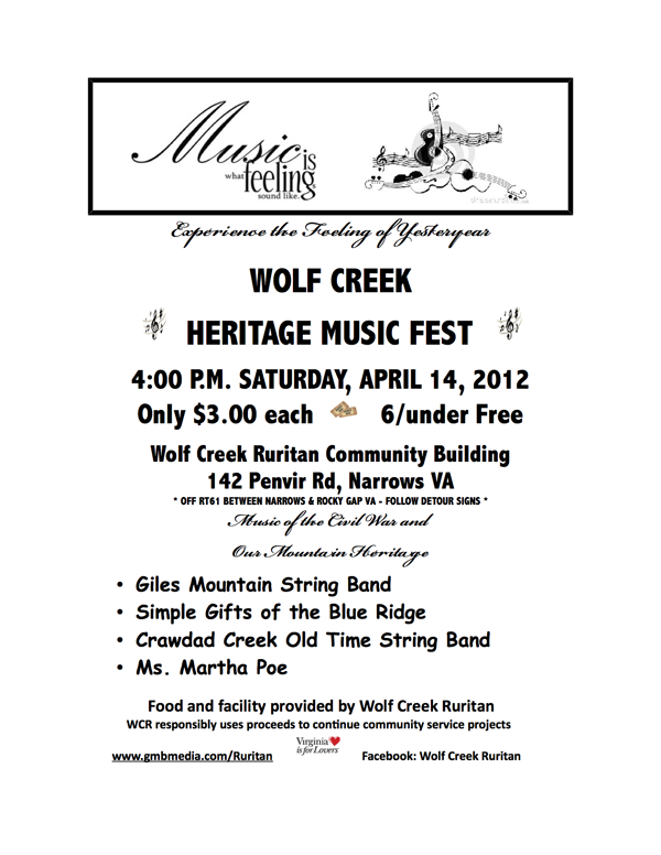 Wolf Creek Ruritan Heritage Music Fest Flyer